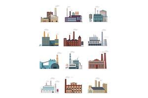 Set of Industry Manufactory Building Icons.