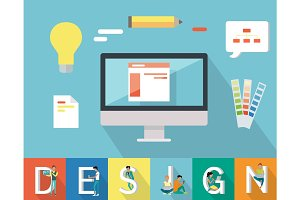 Web Design Conceptual Vector in Flat Style