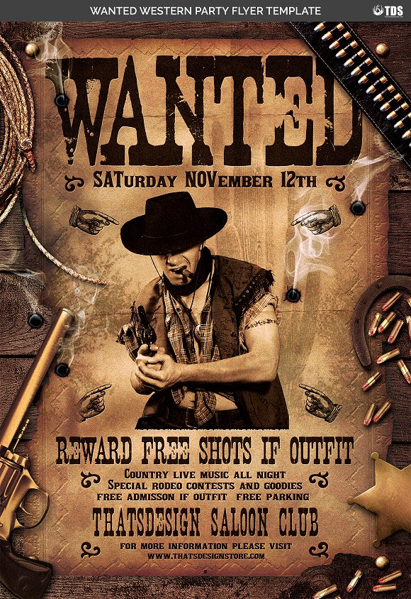 Wanted Western Party Flyer Template Flyer Templates Creative Market