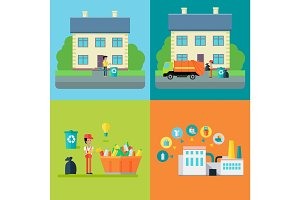 Set of Waste Recycling Concept Illustrations