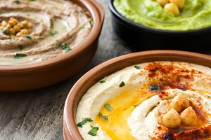 Different hummus bowls
