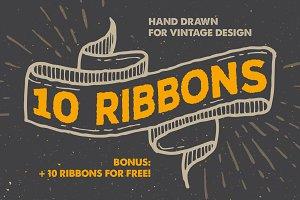 10 Vintage Ribbons + Bonus