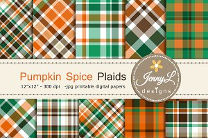 Fall Autumn Plaids Digital Paper