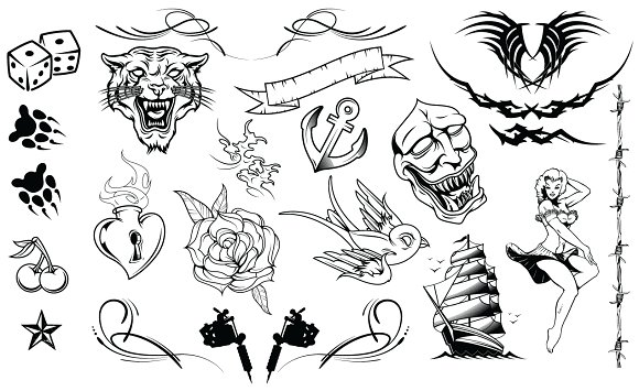 Tattoos Vector Pack Illustrations Creative Market
