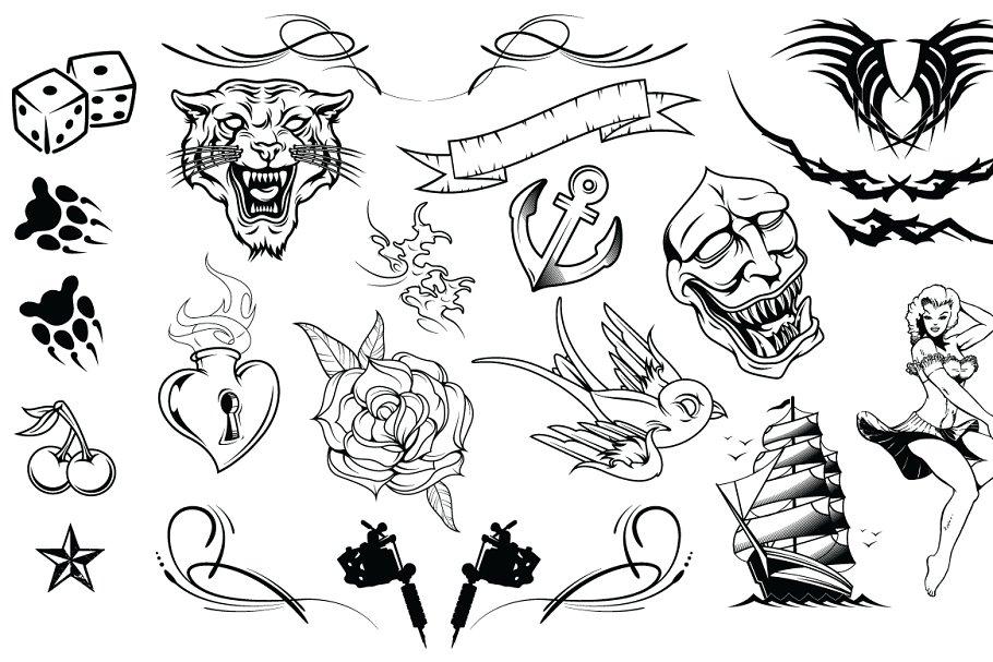 dc783c36a8de6 Tattoos Vector Pack ~ Illustrations ~ Creative Market