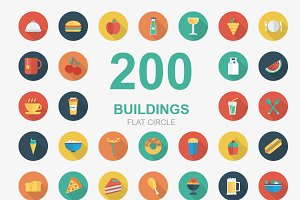 Food and Drink Circle Shadow icons