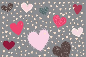 Valentines hearts on gray