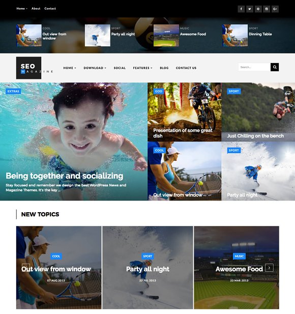 SEO Sports Magazine Blogger Template