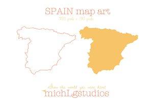 Spain map art PNG