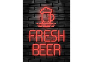 Fresh beer neon sign or emblem on black brick wall.