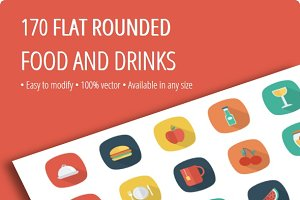 Food and Drink Flat Rounded Shadow