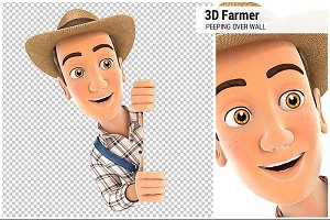 3D Farmer Peeping Over Blank Wall