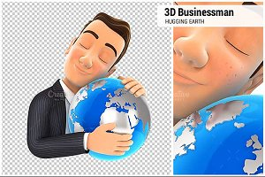 3D Businessman Hugging the Earth