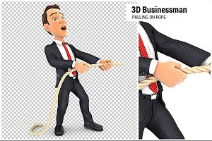 3D Businessman Pulling on the Rope