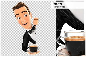 3D Waiter Behind Left Wall