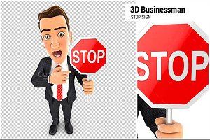 3D Businessman Stop Sign