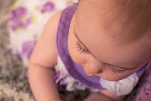 Close up of baby girl eyelashes
