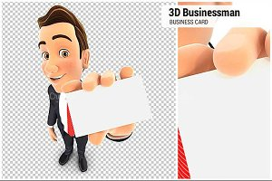 3D Businessman Holding Business Card