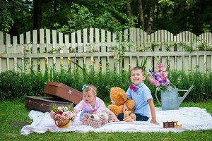 Girl and a boy in garden