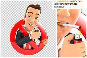3D Businessman No Smoking