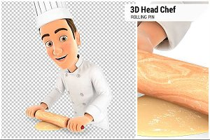 3D Head Chef Using Rolling Pin
