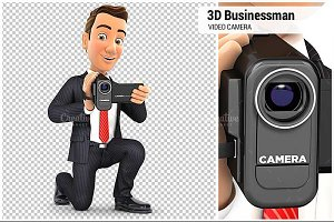3D Businessman with Video Camera