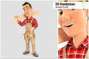 3D Handyman Carrying Wooden Plank