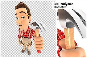 3D Handyman Holding a Claw Hammer