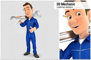 3D Mechanic Carrying Wrench