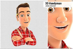 3D Handyman with Arms Crossed