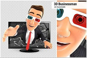 3D Businessman 3D Television