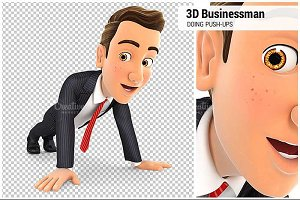 3D Businessman Doing Push-ups