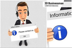 3D Businessman Computer Message
