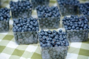 Blueberries on a farm market