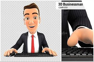 3D Businessman Looking Computer