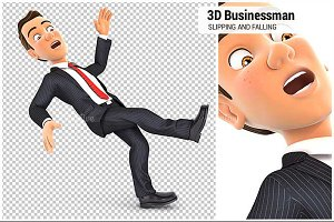 3D Businessman Slipping and Falling