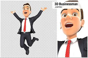 3D Businessman is Jumping