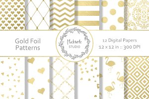 Gold Foil Patterns digital paper