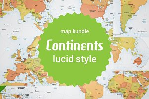 Bundle of 8 vector continent maps