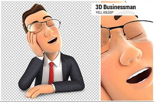 3D Businessman Fell Asleep