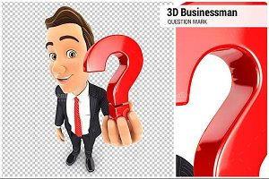 3D Businessman Question Mark Icon