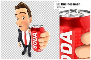 3D Businessman Holding Soda Can