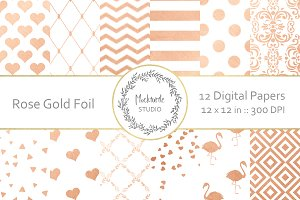 Rose Gold Pattern digital paper