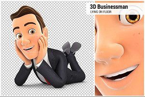 3D Businessman Lying on Floor