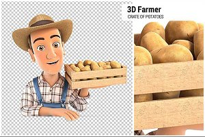 3D Farmer Holding Crate of Potatoes