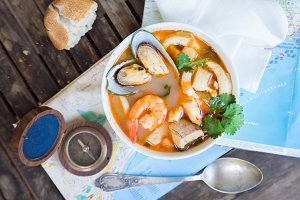 Bouillabaisse french seafood soup