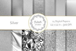 Silver Foil & Glitter Digital Paper
