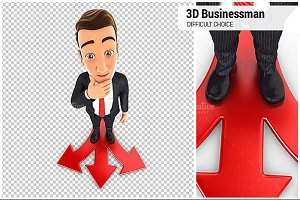 3D Businessman Difficult Choice