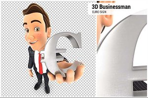 3D Businessman Euro Sign