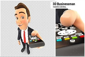 3D Businessman Television Remote